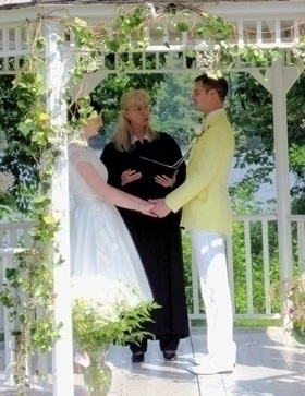 Warm New Hampshire outdoor gazebo wedding with officiant Jeanne Pounder, Justice of the Peace