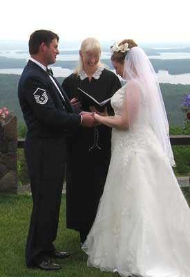 Breathtaking views at a wedding and handfasting at Castle in the Clouds with officiant Jeanne Pounder, NH Justice of the Peace